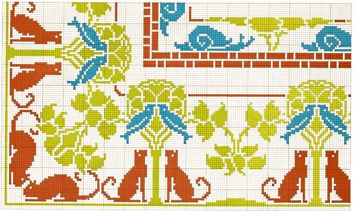 Corner borders 22: cats & birds, snails.