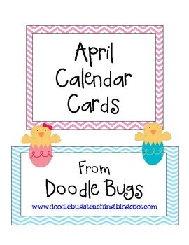 Enjoy this set of fun April Calendar Cards. Can also be used as counting cards for the little ones! Visit my blog atwww.doodlebugsteaching.bl...