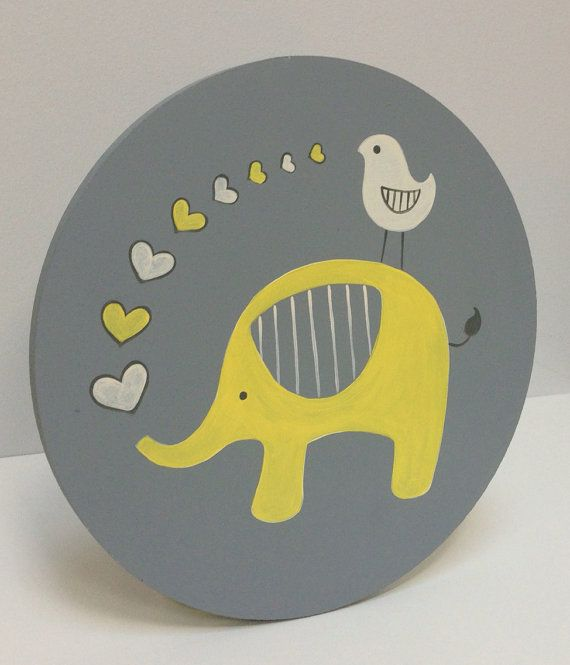 Hand painted Gray and Yellow Nursery Art, Yellow and Gray Nursery Decor, Kids Wall Art, Elephant Nursery Art, Baby Boy Nursery