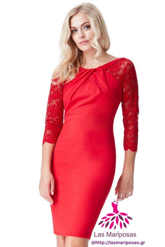 Pen κόκκινο Midi φόρεμα με δαντελένια μανίκια