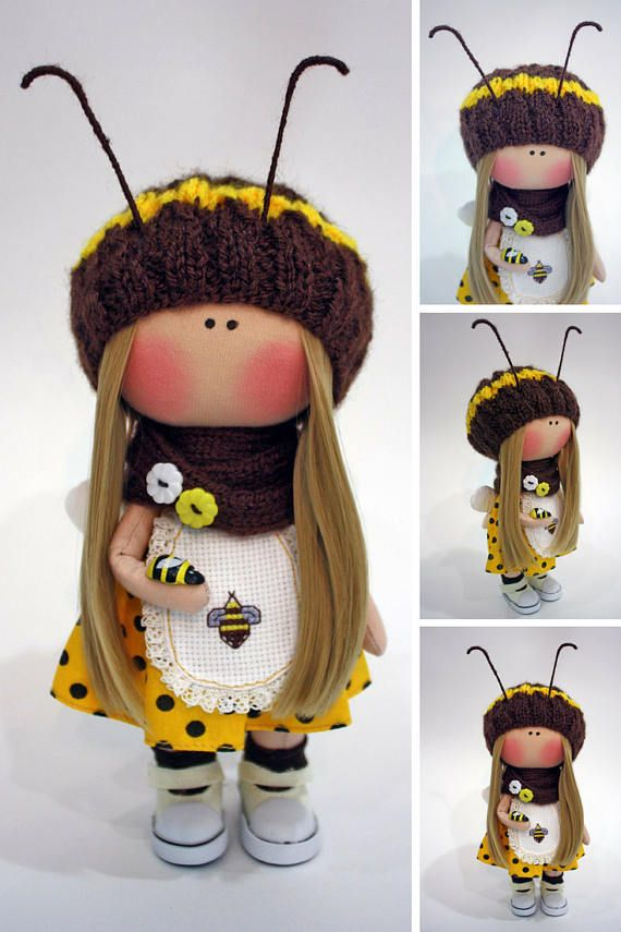 Bee doll Cloth Doll Fabric Doll Muñecas Rag Collection Doll Bambole Textile Doll Handmade Doll Tilda Doll Puppen Yellow Doll Poupée Ksenia __________________________________________________________________________________________  Hello, dear visitors!  This is handmade cloth doll created by Master Ksenia Pe (Moscow, Russia). Doll is 23 cm (9.1 inch) tall and made of only quality materials. All dolls stated on the photo are mady by Ksenia. You can find them in our shop searching by artist…