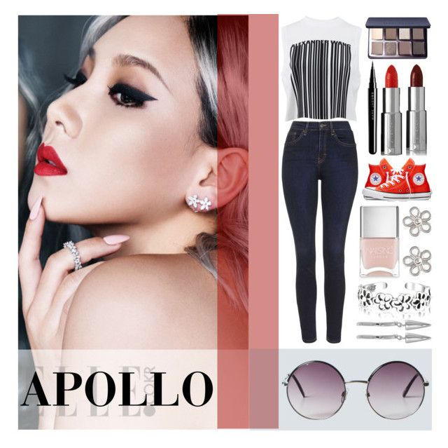 APOLLO by counterkitty on Polyvore featuring polyvore, мода, style, Alexander Wang, Topshop, Converse, French Connection, Bling Jewelry, Monki, Givenchy, Bobbi Brown Cosmetics, Marc Jacobs, Nails Inc., modern, fashion, clothing, red, Silver, kpop and korea