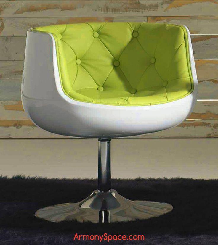 Sillón giratorio Darwil · Rotating Chair Darwil 71x60x60 Acabado capitoné de gran calidad y una base metálica con acabado cromado asiento en blanco o negro con interior en polipiel de muy buena calidad con diseño de botones en verde, rojo o blanco. www.armonyspace.com