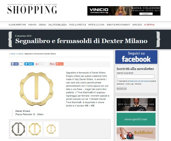 SHOPPINGMILANOROMA.IT DICEMBRE 2015 - Segnalibro ottone dorato  @Dexter S. Milano #BookMark #TimeMachine #Jewelry #Responsable #Solidarity #Accessories