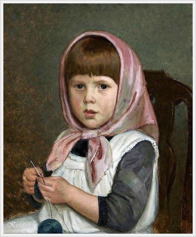 Adolf von Becker (Finnish, 1831-1909) «Knitting Girl»