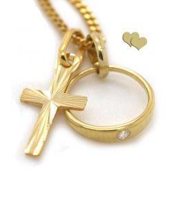 Taufring mit Kreuz Gold 333/000
