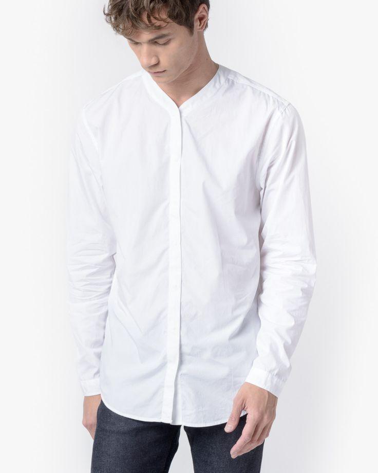 Bertil Compact Poplin Shirt in White