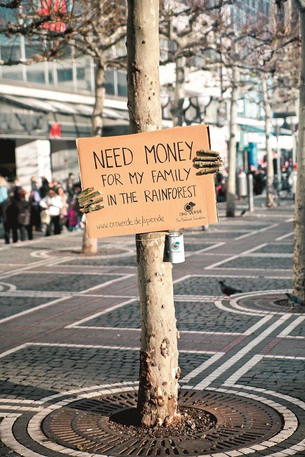 A campaign created by ad giant, Ogilvy & Mather, in Frankfurt, Germany. Hand-written placards were posted on more than 600 trees in Germany and helped OroVerde Rainforest Foundation raise cash donations. How clever is this? Love it.