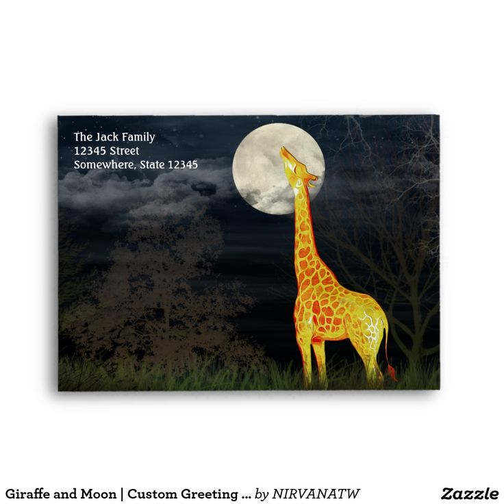 avery address labels wedding invitations%0A Giraffe and Moon   Custom Greeting Card Envelop A