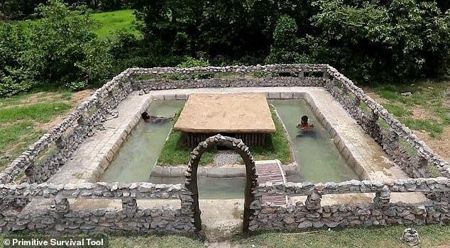 Two Men Build Swimming Pool In Just Two Weeks Using Primitive Tools Building A Swimming Pool Diy Swimming Pool Pool