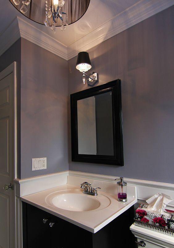 light gray and lavender bathroom