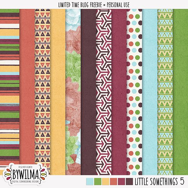 FREE digital scrapbooking freebie - solid and patterned papers digidesigned by Wilma (link valid until 15 September)