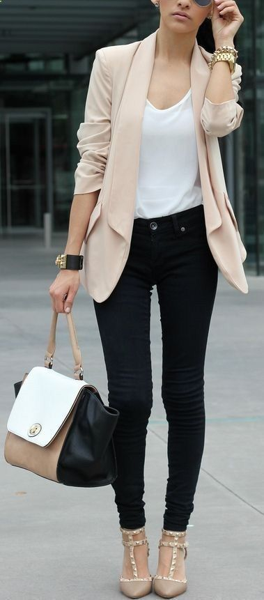 Blush blazer   black skinnies   neutral heels. A refined casual Friday look.