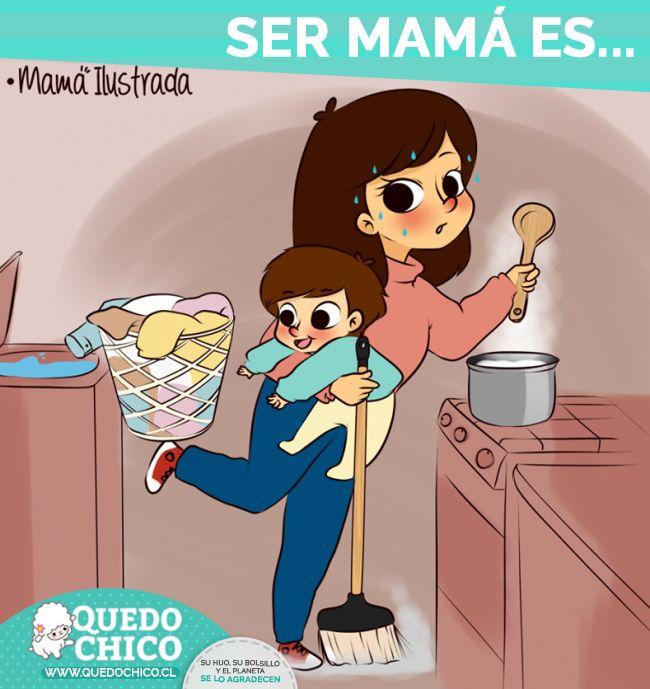 Ser Mamá es...   Saber resolver 1000 problemas en el mismo minuto.   ¿Y tú eres una Super Mamá?   Imagen cortesía: Mamá Ilustrada