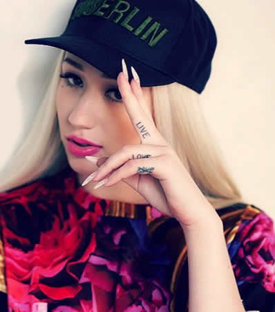 "Iggy Azalea's ""LIVE.LOVE.A$AP."" Tattoos on Her Fingers http://www.popstartats.com/iggy-azalea-tattoos/finger-live-love-asap/"
