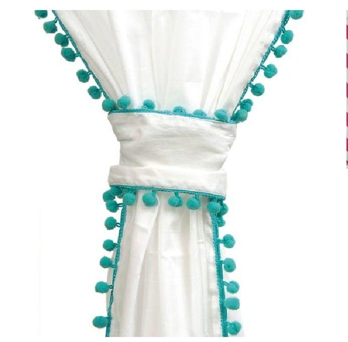 White Curtains With Pom Poms Baby S Nursery Pom Pom