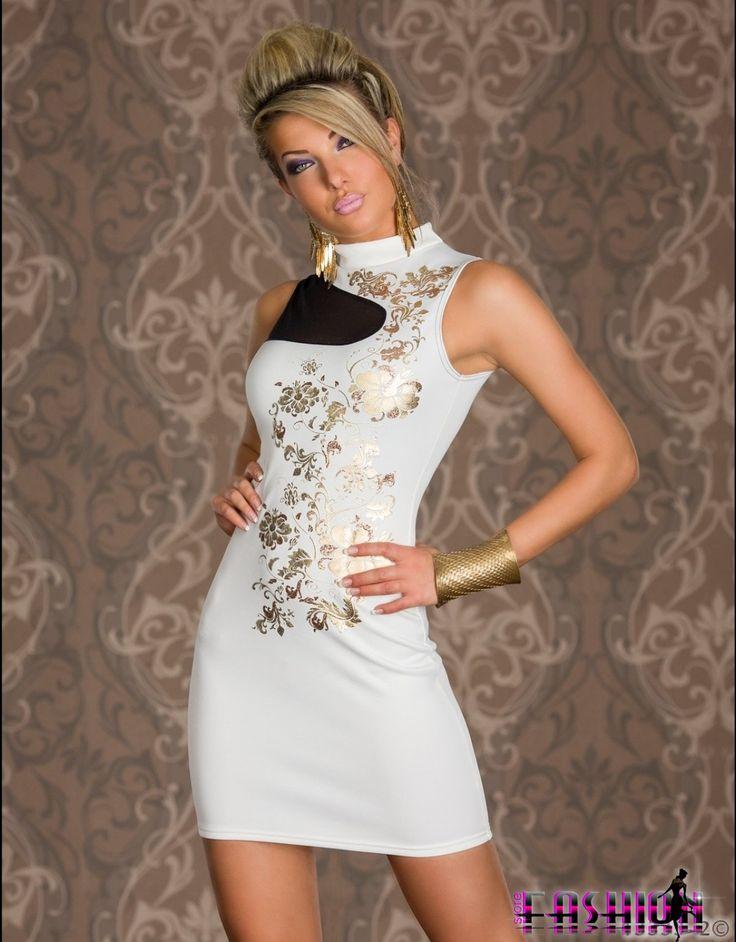 Rochie de seara, rochie de ocazie moderna, cu imprimeu auriu.  Rochie eleganta de ocazie, cu inseratii de voal transparent.  Se inchide dup...