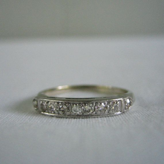 Vintage Wedding Band 1940s Diamond White Gold Ships from by Addy