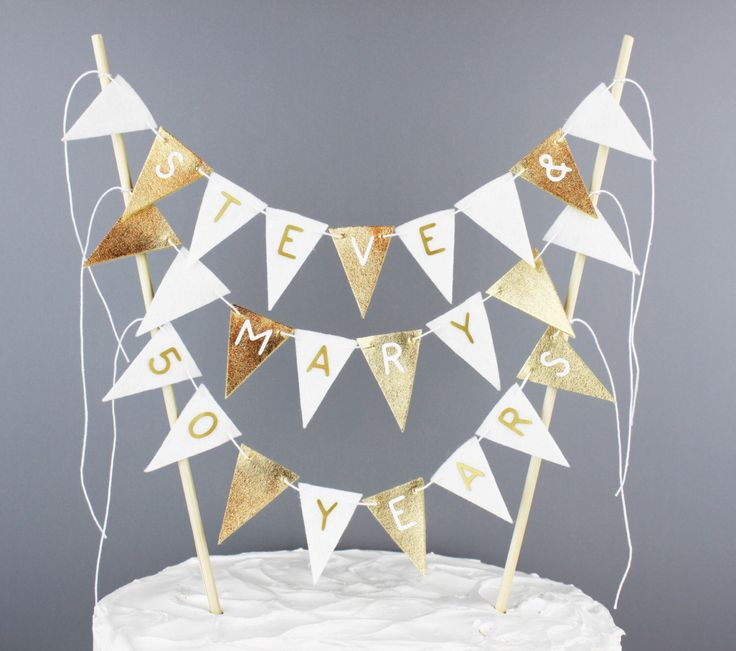 Personalized 50th Wedding Anniversary Cake Banner, Metallic Gold and White Cake Topper Bunting Pennant Garland, Fancy Large Cake Centerpiece by SoSimpleSoSweet on Etsy https://www.etsy.com/ca/listing/255584310/personalized-50th-wedding-anniversary