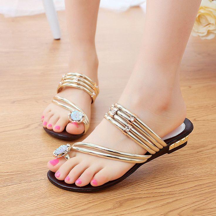 Sandales d'été dames Bohême Pure Color Low Wedges Lace Up Plage f681i