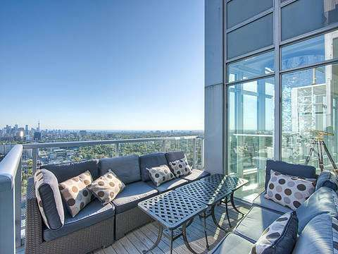 """Ultimate Luxury In The Sky"" this penthouse truly redefines the meaning of #luxury. Panoramic lake and city south west views. Approx. 3,665 sq.ft. plus approx. 300 sq.ft. of #outdoor space including hook-up for gas bbq. Onyx and marble flooring throughout, gourmet kitchen including gas range, double sided quartz gas fireplace, motorized blinds and Creston light and sound system throughout. 10' ft. ceilings, floor to ceiling, wall to wall windows in every room."