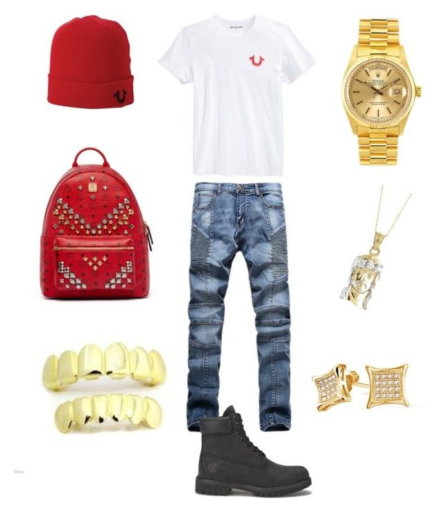 """6hunna ️"" by chiefkeefsosaa on Polyvore featuring True Religion, Timberland, Rolex, Bling Jewelry, MCM, men's fashion and menswear"