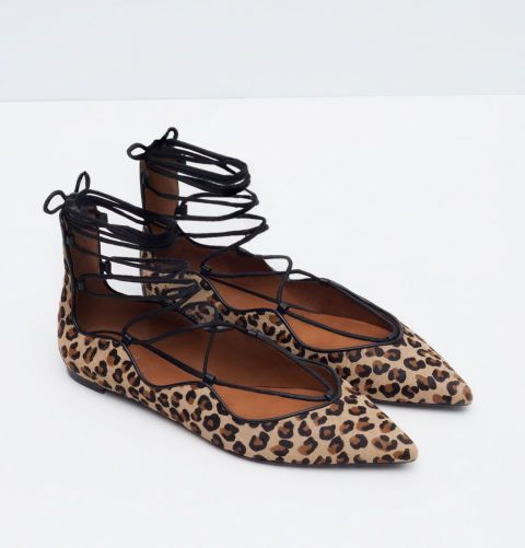 Zara leopard lace up flats. March 2016