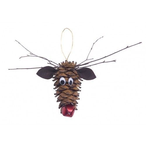 Pinecone Reindeer Head with a jingle bell nose and Twig Ears