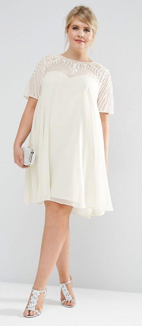 Plus Size Swing Dress with Embellished Yoke
