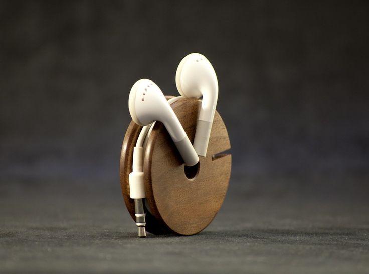 Wood Earbud Holder / Earphone Organizer - Walnut. $27.00, via Etsy.