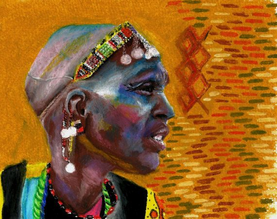 Check out this item in my Etsy shop https://www.etsy.com/uk/listing/497587088/masai-woman-print-oil-pastel-portrait-of