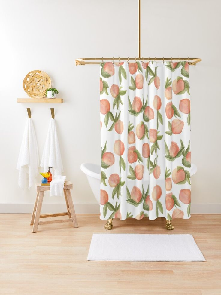 Watercolor Peaches Shower Curtain By Peyton Bailey Peach Shower