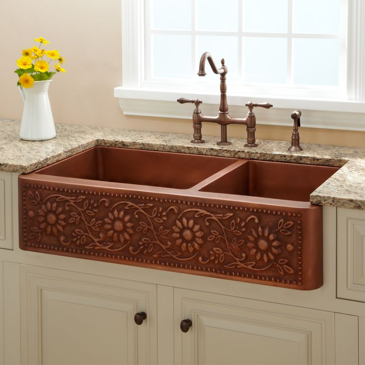 """Kitchen Beautiful Farmhouse Sink For Sale For Lovely: 39"""" Sunflower 70/30 Offset Double Well Farmhouse"""