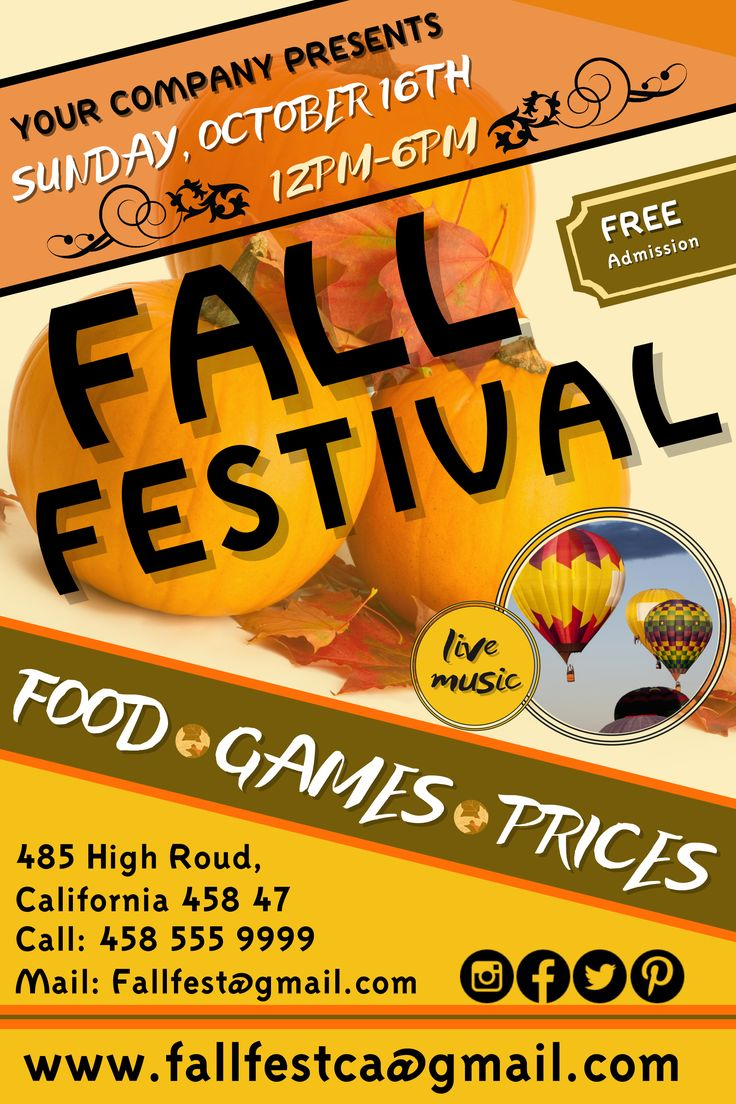 Fall Festival Flyer. Click on the image to customize on PosterMyWall.