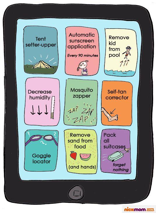 Summer Apps Someone Needs to Invent: Mobiles Cartoon, Mobile Apps, Summer App, Summer Phones, Mom Humor, Mobiles App, Nickmom Mobilecartoon, Funny Stuff, Phones App
