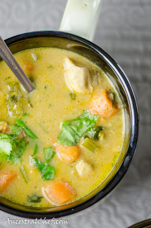 Coconut Chicken Curry>3 chicken breasts>1 tablespoon of ghee or butter or coconut oil> 1 can (13.5oz) coconut cream > 1 cup chicken broth or stock> 2 cup diced carrots> 1 cup chopped celery> 2 tomatoes> 1 1/2 tablespoons curry powder> 1 tablespoon grated ginger> 1/4 cup cilantro> 6 cloves garlic> salt