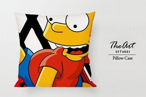 "Bart Simpson Cartoon - Custom Square 18""x18"" One Side Pillow Case."