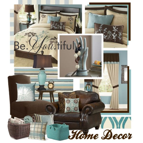 Teal and brown living room decor