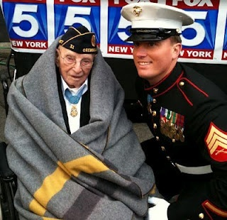Veterans Day parade NYC 2011: Youngest Medal of Honor recipient (U.S. Marine Corps Sgt. Dakota Meyer) meets oldest living recipient (94-year-old Nicholas Oresko)Heroes, Honor Recipies, America, Youngest Medal, Veterans Day, God Blessed, Oldest, Military, Marines Corps