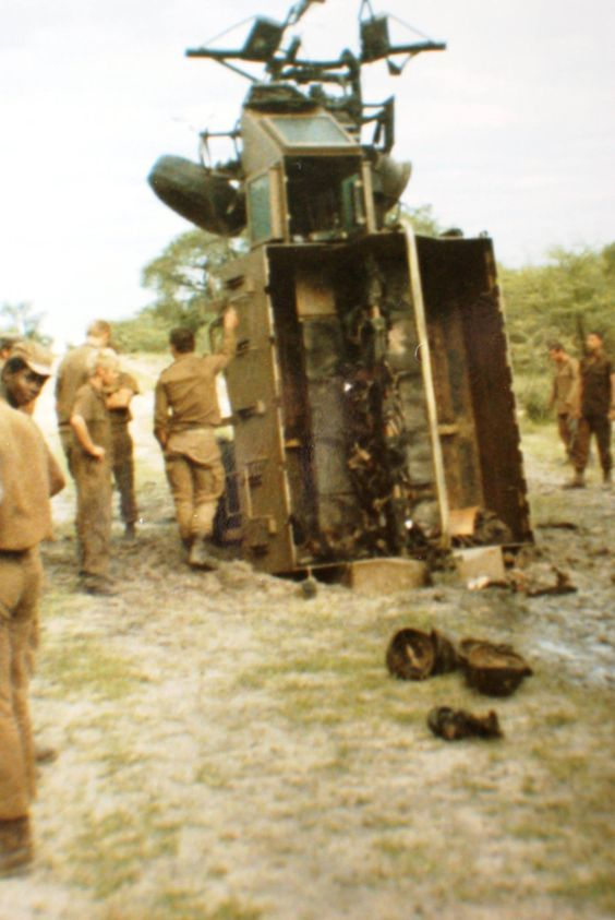 Landmine took off right hand wheel and engine with the force of the explosion it ended up with the back bin in the hole