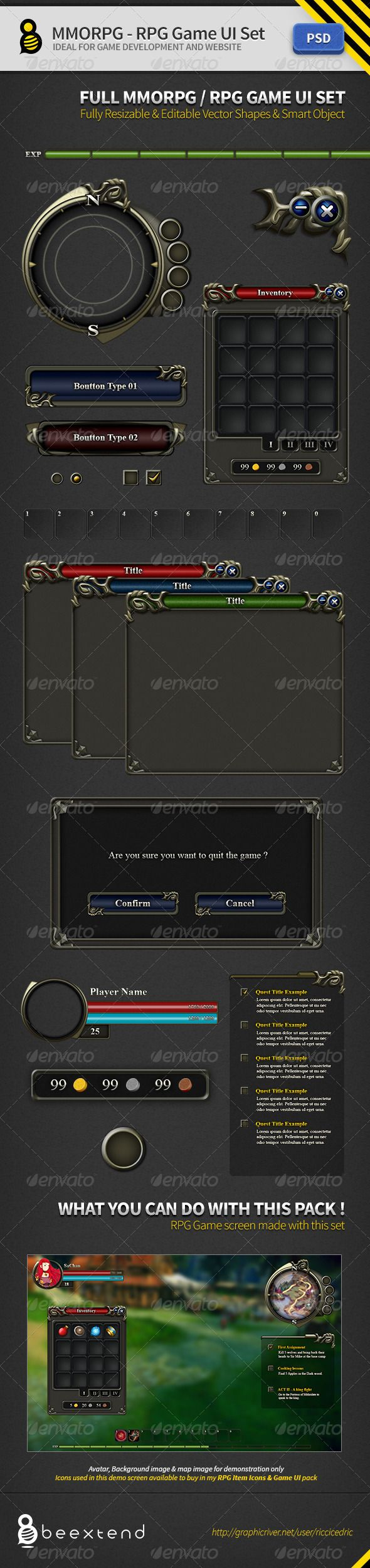 MMORPG-RPG Game UI Set - GraphicRiver Item for Sale