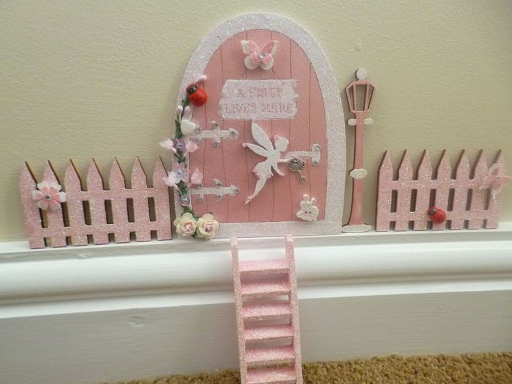Magical pink #glitter fairy door with #glitter #ladder #fences lamp post & flowers,  View more on the LINK: http://www.zeppy.io/product/gb/2/111956197855/