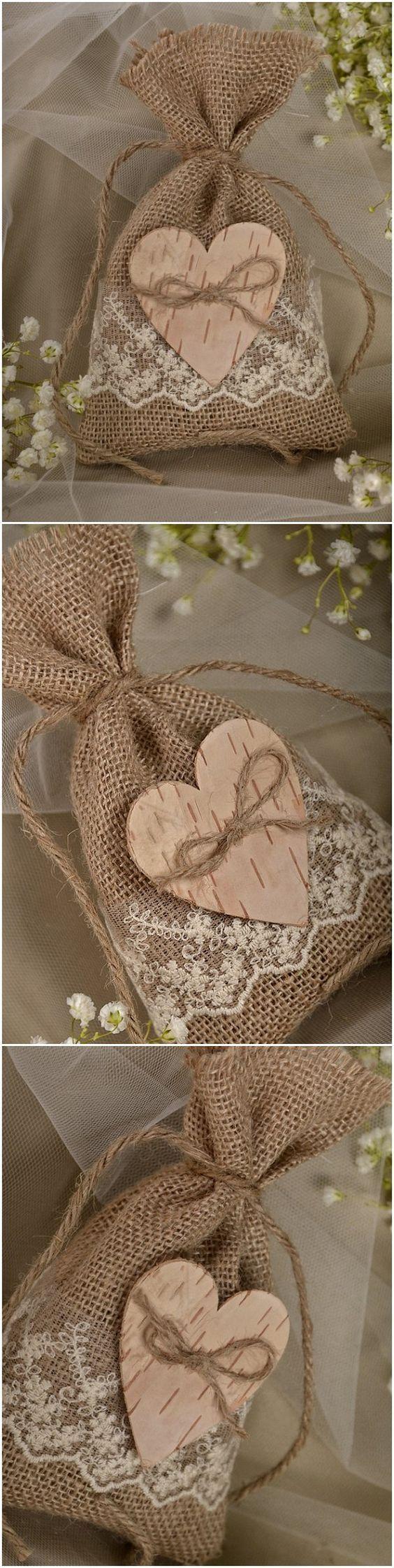 Rustic country burlap and lace wedding favor bags #weddingideas #rusticwedding…