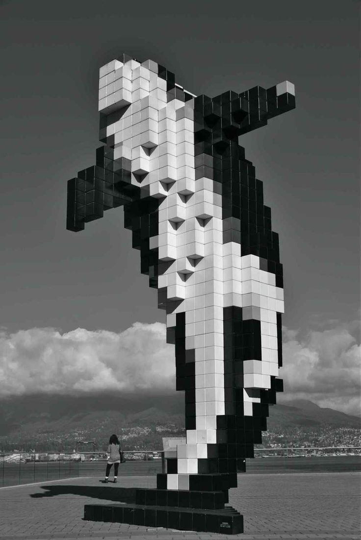 Digital Orca - Canadian artist Douglas Coupland 2009, in Coal Harbour Vancouver BC