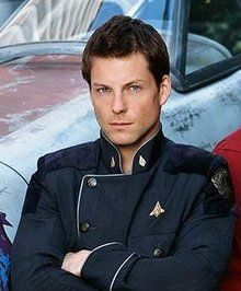 "Jamie Bamber as Cpt. Lee ""Apollo"" Adama in Battlestar Galactica. Most chiseled man ever..."
