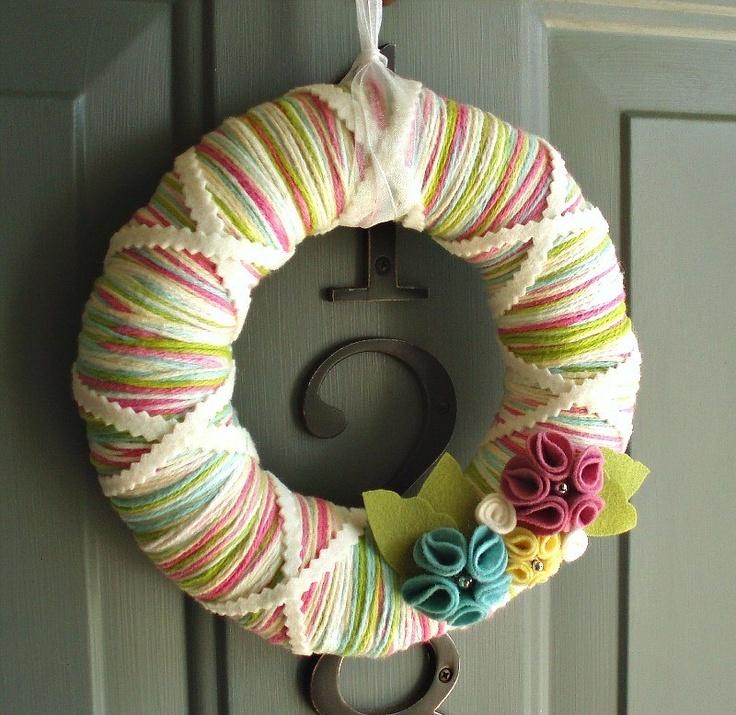 Yarn Wreath Felt Handmade Door Decoration - Candy Mix 8in. $35.00, via Etsy.