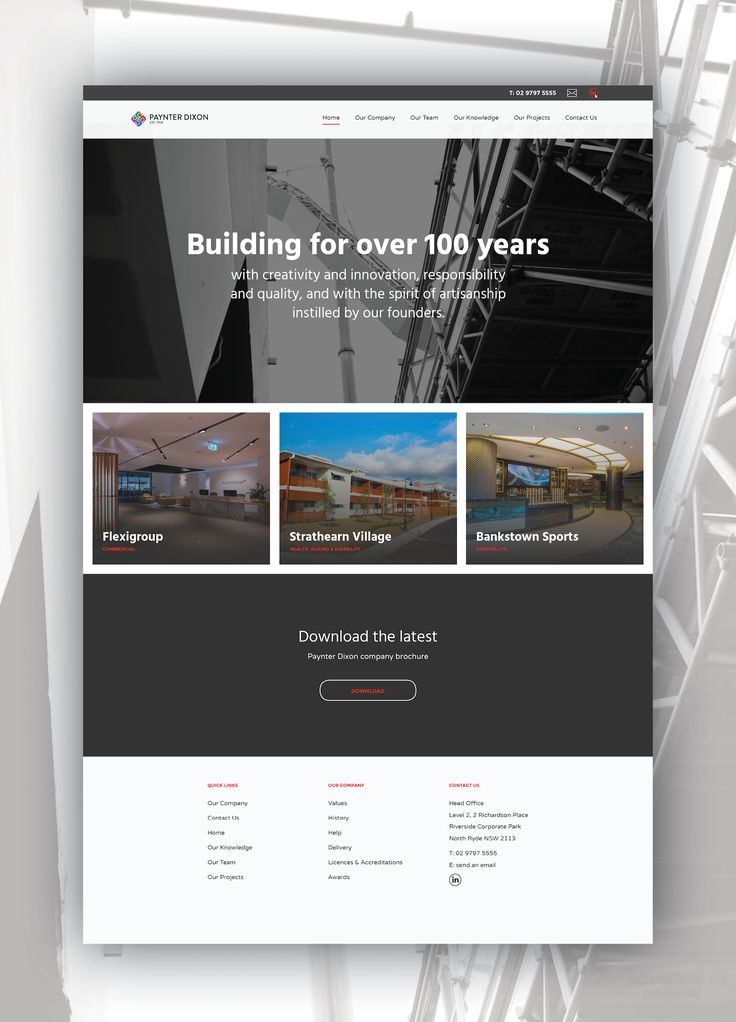 Website design and build for Paynter Dixon, including intuitive menu bar, sub-menu navigation, smooth content loading transitions and a custom contact form.