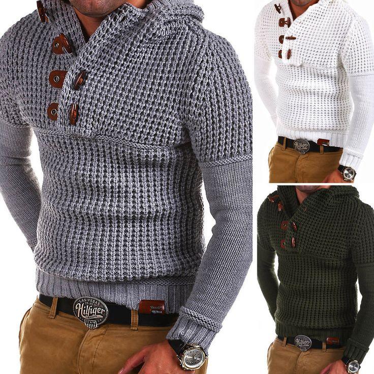 TAZZIO Strick-Pullover Hoodie Grobstrick Troyer Strickjacke Dunkelgrau/Grau NEU | Kleidung & Accessoires, Herrenmode, Pullover & Strick | eBay!