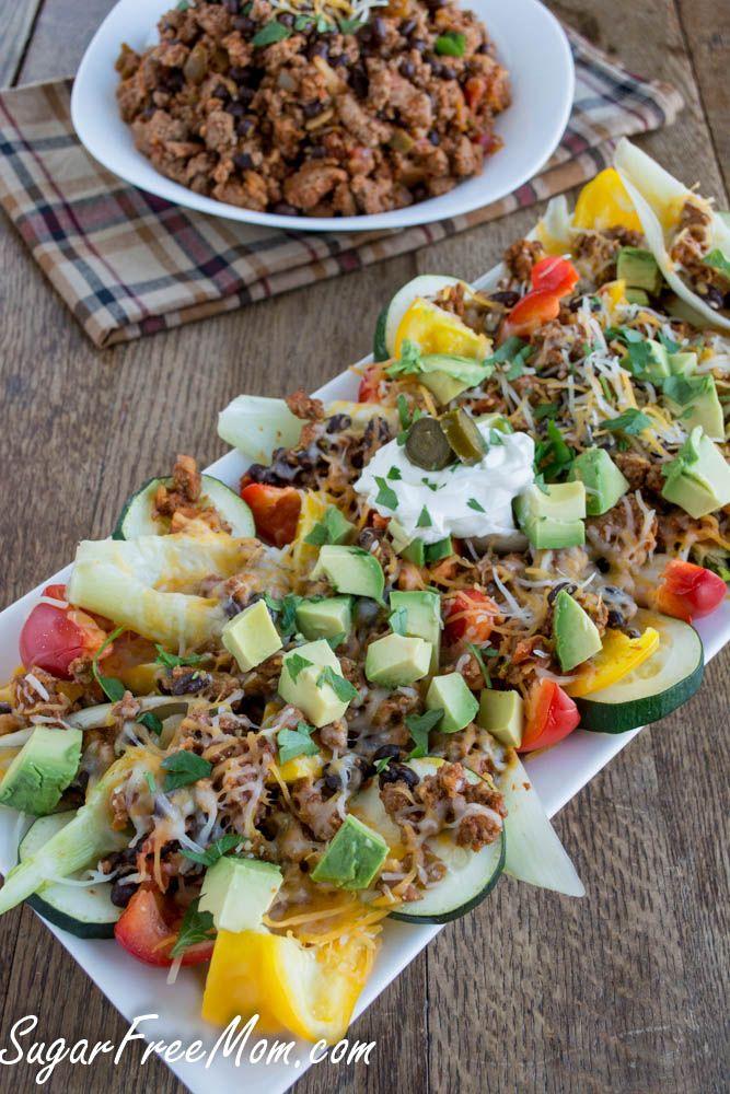 Healthier Chip Free Nachos/ sugarfreemom.com #superbowlfood #gamedayfood #cleaneating