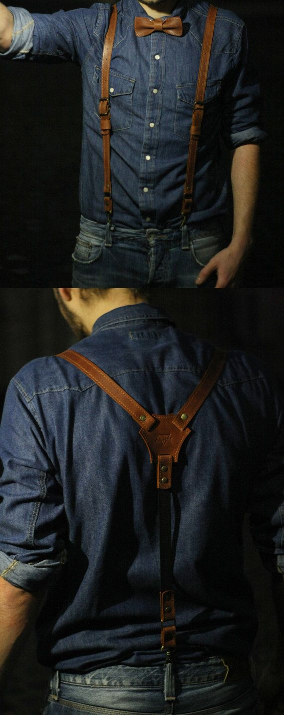 Personalized leather suspenders leather suspenders by theOneBee